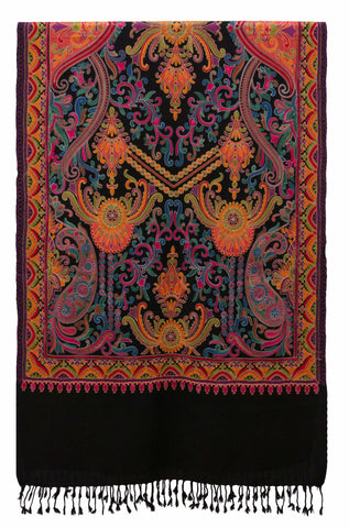 Shawl Embroidered Wool Black Paisley Boho Chic