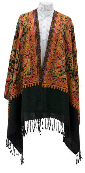 Embroidered soft wool shawl, a perfect gift for Mother's Day - Marie-Pierre Rousseau