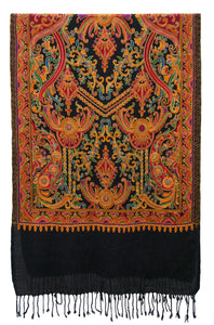 Black woolen shawl with rich, sophisticated and refined artwork - Marie-Pierre Rousseau