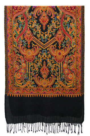 Shawl embroidered wool black paisley lively