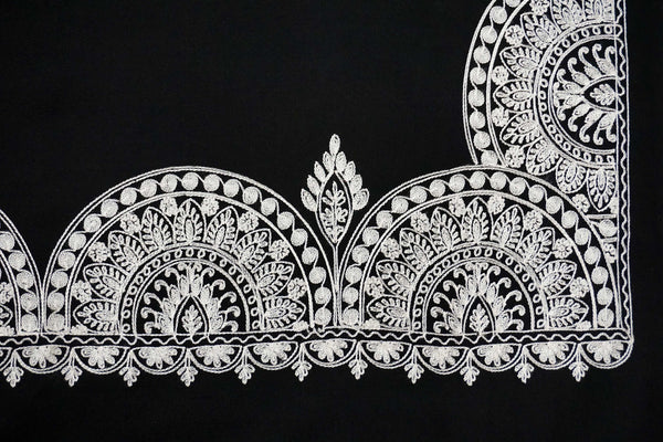 Black and white embroidery artwork on a warm soft woolen stole to dress up spring or fall look - Marie-Pierre Rousseau