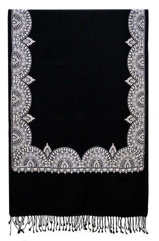 Shawl embroidered wool black white