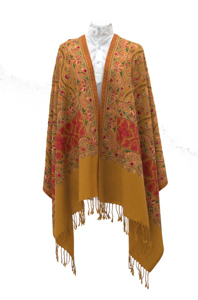 Mustard fine wool shawl with all over embroideries and elegant details for a prestigious bohemian look - Marie-Pierre Rousseau
