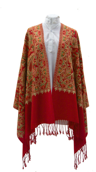 Vibrant red fine wool stole with paisleys embroideries and sophisticated details for a classic look - Marie-Pierre Rousseau