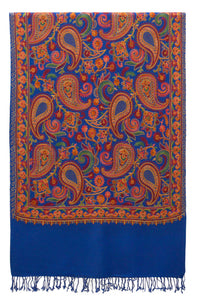 Blue fine wool shawl with embroideries and elegant details for a fancy bohemian style - Marie-Pierre Rousseau