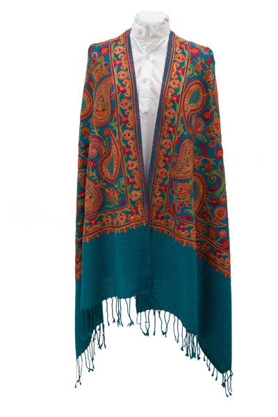 Turquoise fine wool stole with paisleys embroideries and glamourous details for a sophisticated  look - Marie-Pierre Rousseau
