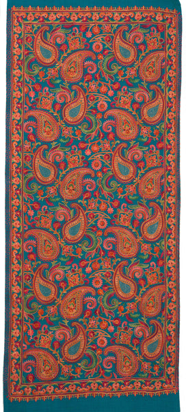 Allover paisley embroidered shawl made with fine wool and elegant details. Splendid artwork on a warm and soft woolen fabric - Marie-Pierre Rousseau