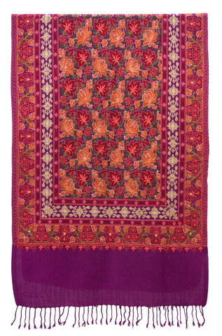 Shawl embroidered wool magenta