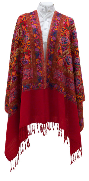 Red wool shawl with lovely, colorful and hot artwork - Marie-Pierre Rousseau