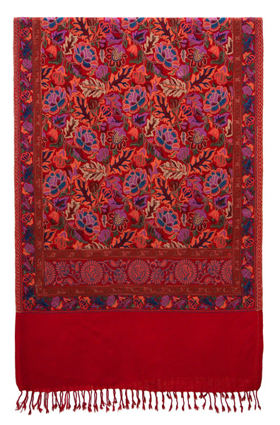 Embroidered flowers artwork on a warm soft woolen fabric. Perfect shawl for a Valentine's Day gift - Marie-Pierre Rousseau