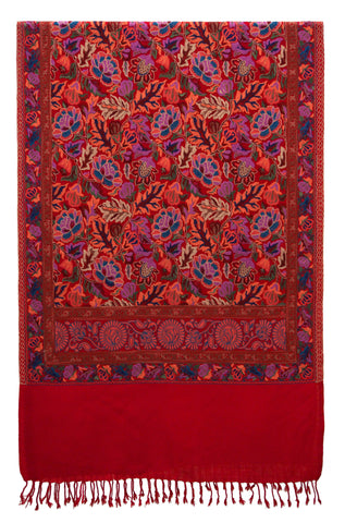 Shawl embroidered wool red flower