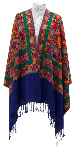 Paisley Embroidered Shawl with Glimmer Embellishment in Royal Blue