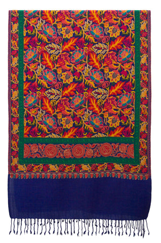 Shawl embroidered wool royal blue flower