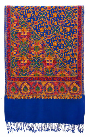 Shawl embroidered wool royal blue