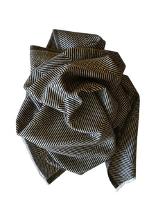Chevron woven large scarf handmade with cashmere. Warm soft cashmere fabric. Perfect father's gift - Marie-Pierre Rousseau