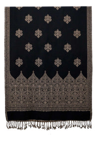 Fun viscose woven stole. Black and White jacquard - Marie-Pierre Rousseau