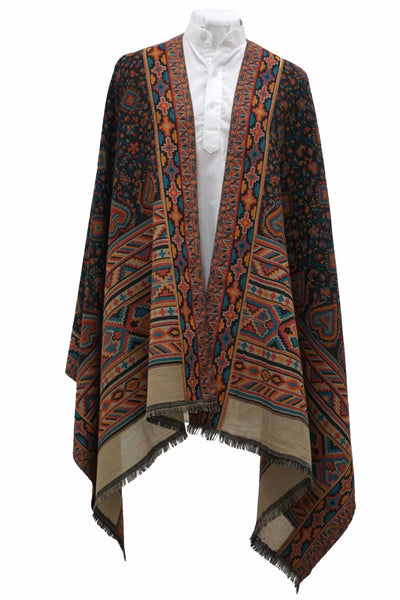 Carefully woven jacquard shawl. Lovely feminine look in a sumptuous range of colors - Marie-Pierre Rousseau