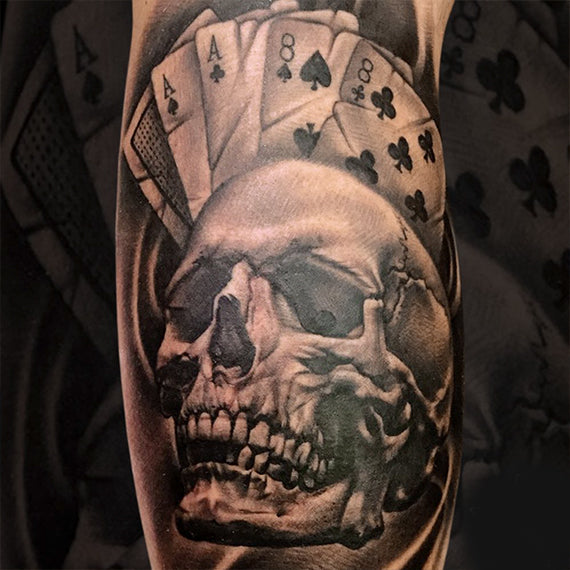 Alex Tattoo Image - Skull with cards