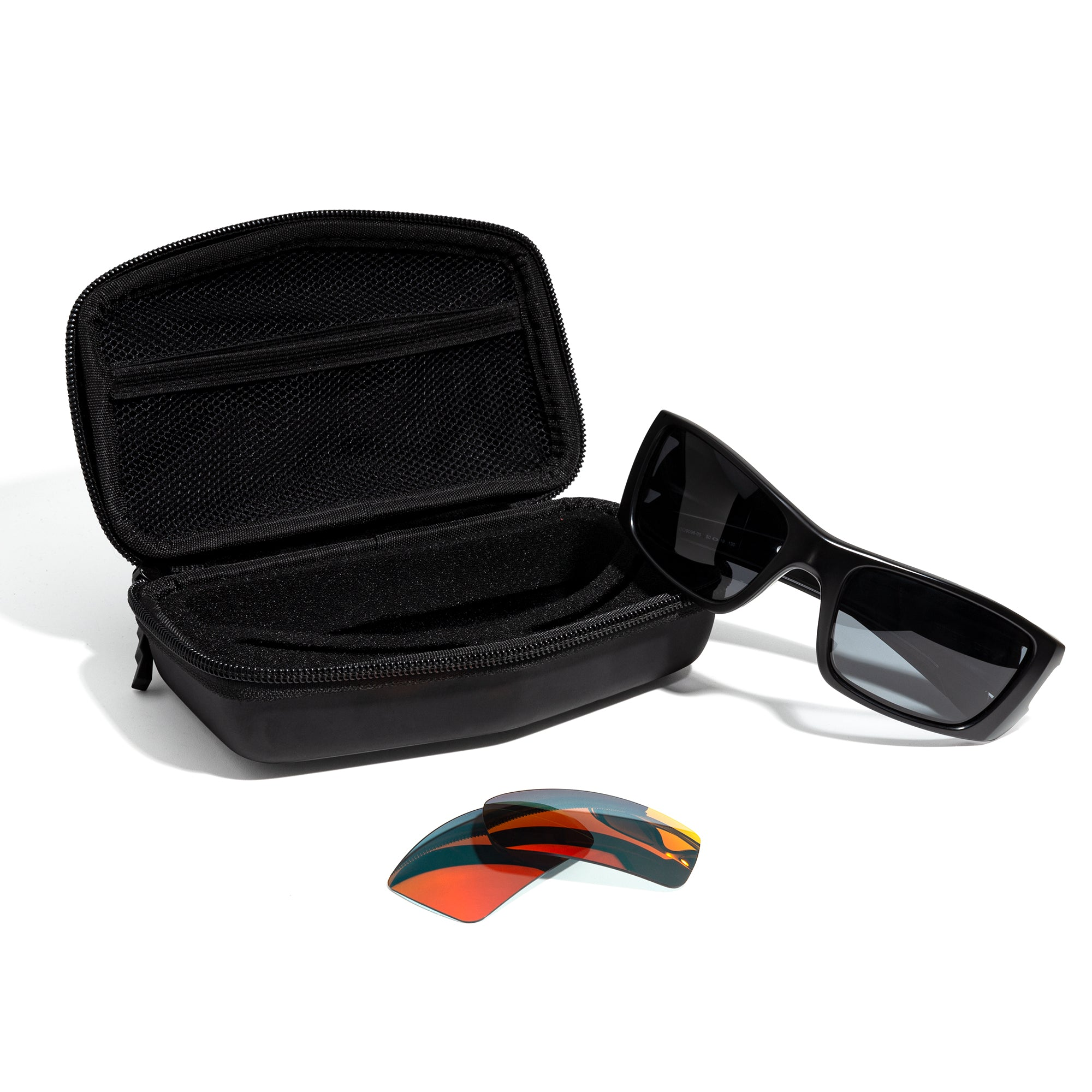 revant large sport sunglass case open with sunglasses and a pair of lenses around it