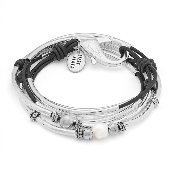 Audrey Natural Black and Silver Bracelet by Lizzy James