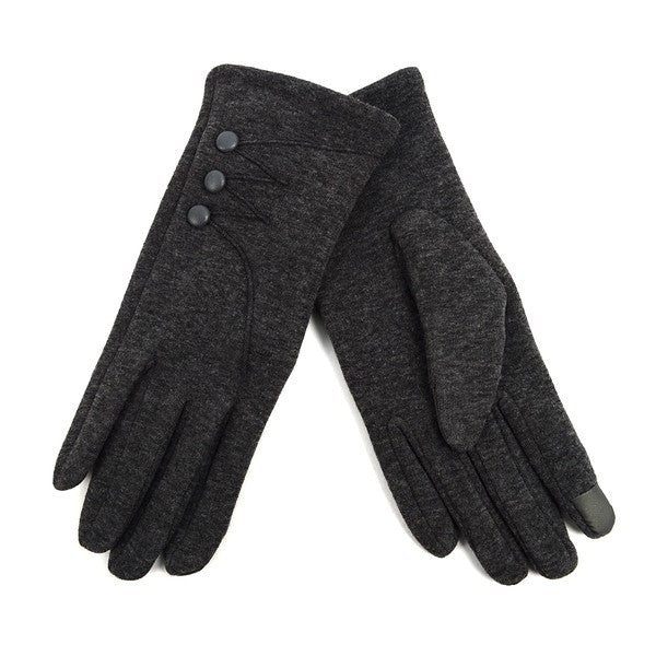 Charcoal color button detail texting gloves