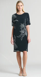 Bouquet Print Back Cross Bar V-Cut Out Shift Dress