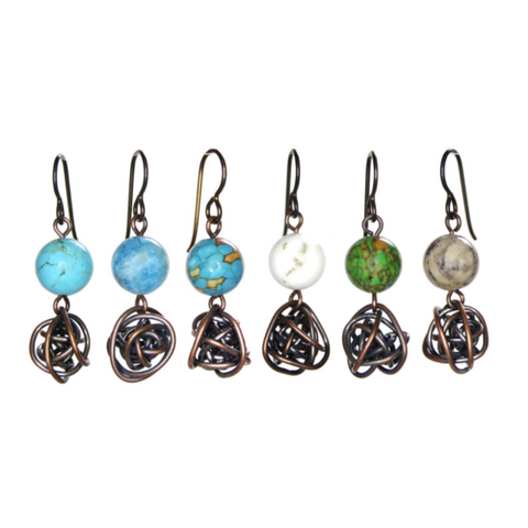 Gemstone Scribbles Double Drop Earrings