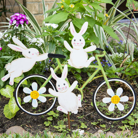 Bicycle Bunnies Garden Bike Stake