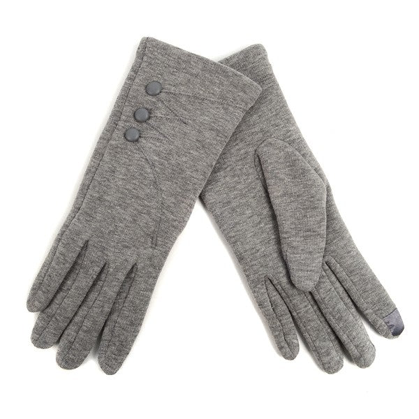 Gray button detail texting gloves