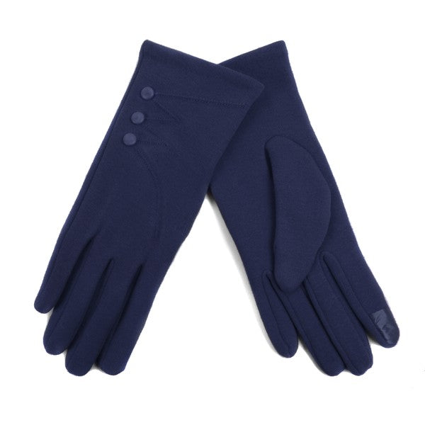 Navy color button detail texting gloves