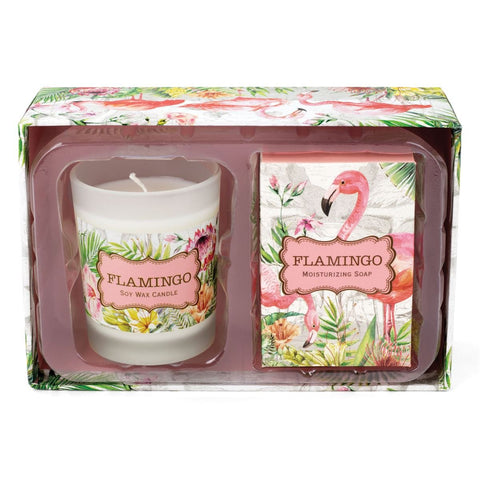 Flamingo Candle and Soap Gift Set