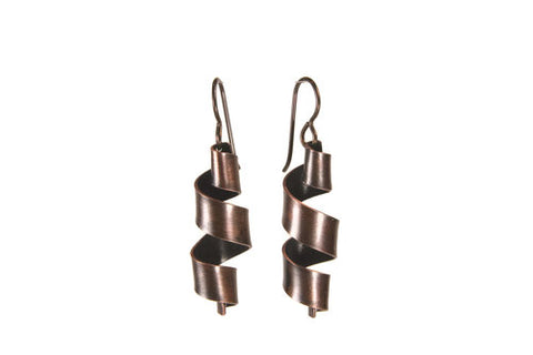 Ribbons Copper Earrings