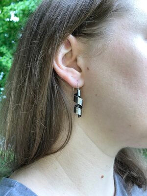 Ribbons Silver Patina Earrings