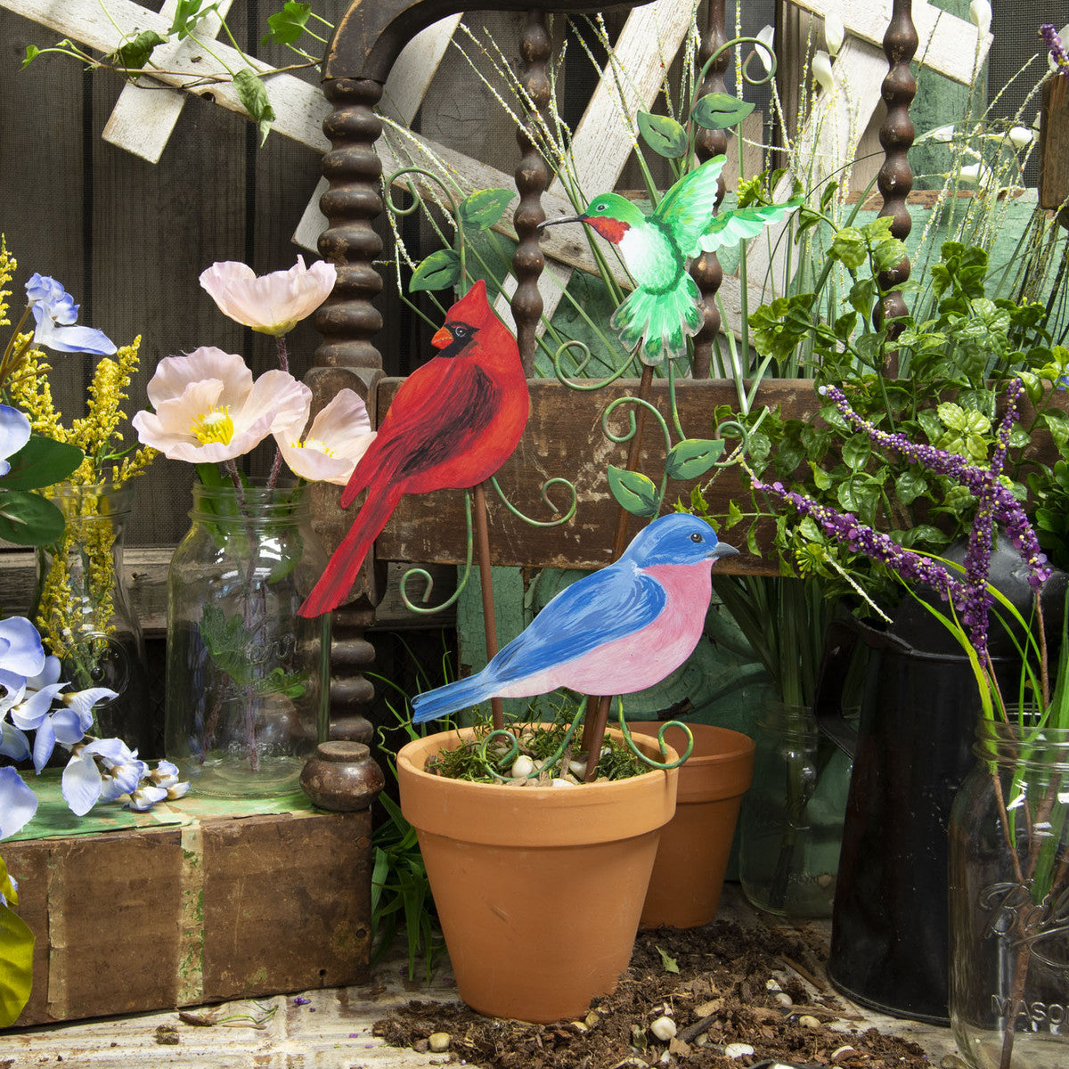 Hummingbird, Cardinal, bluebird metal stakes for garden
