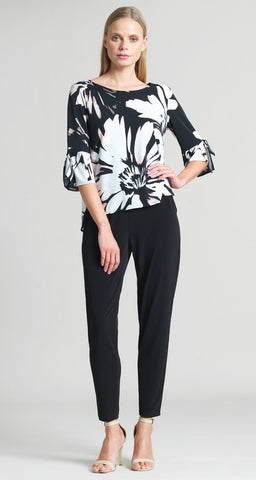 Rose Floral Print Top - Black/Rose