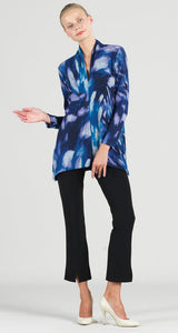 Cozy Multi Brush Print Narrow V-Neck Side Vent Sweater Tunic