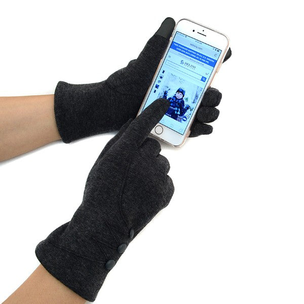 Button detail texting gloves with phone