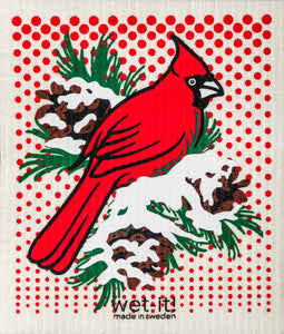 Wet-It! Winter Cardinal Dishcloth
