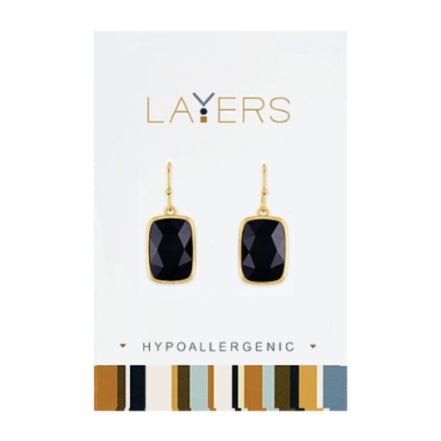 Gold Rectangle Stone Black Dangle Layers Earrings