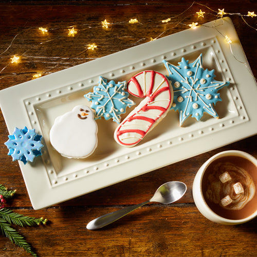 Bread Tray by Nora Fleming with Christmas Cookies and cocoa