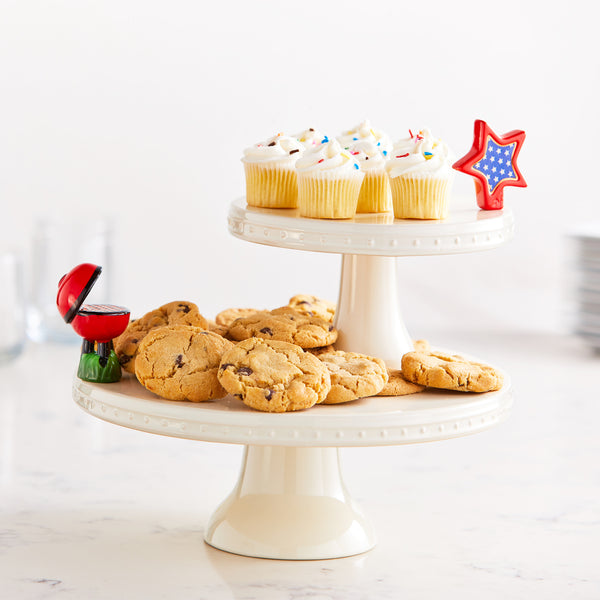 Nora Fleming pedestal server with cookies and cupcakes