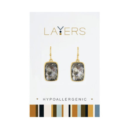 Gold Rectangle Stone Charcoal Dangle Layers Earrings