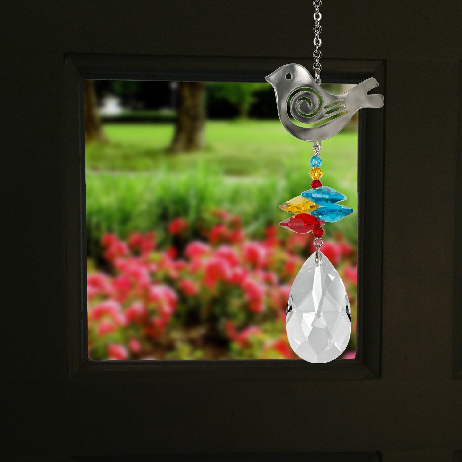 Crystal Bird Suncatcher. Material: Genuine Austrian crystals, nickel-plated brass ornament, silver finish plated brass chain