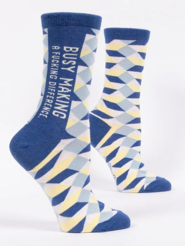 Busy Making  A Difference - Blue Q Women's Crew Socks
