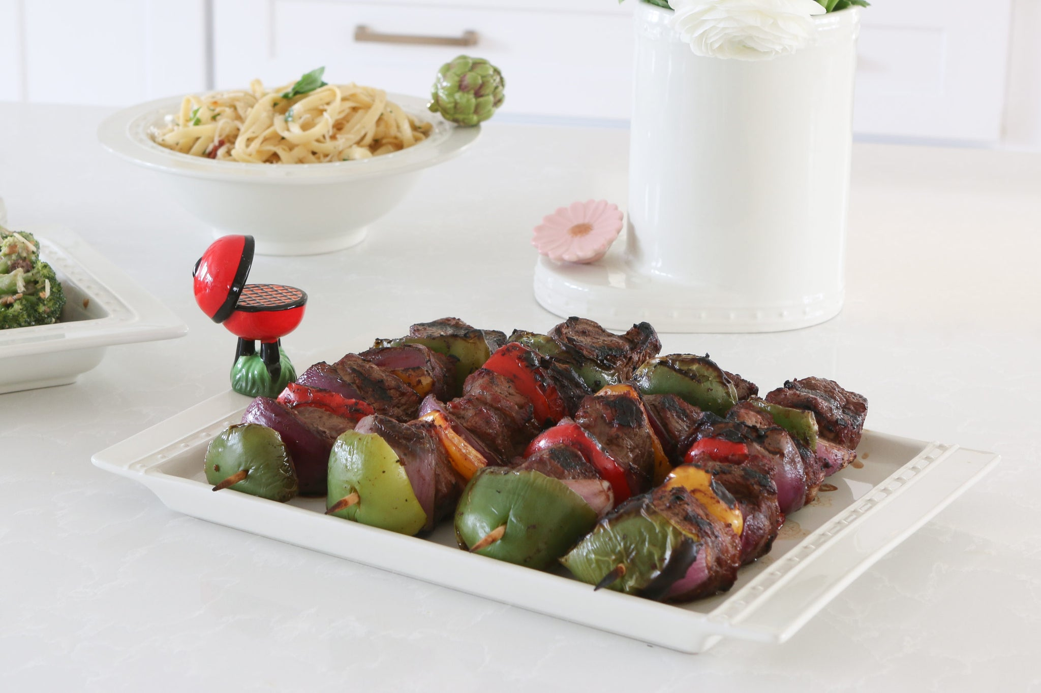 Nora Fleming Rectangle Revamp tray with skewers from barbeque with mini