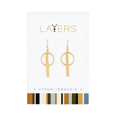Gold Circle & Bar Dangle Layers Earrings