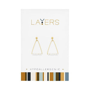 Gold Triangle Pearl Dangles Layers Earrings
