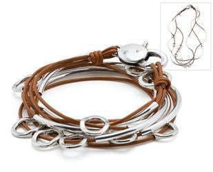 Lizzy James bracelet, silver ovals and brown leather