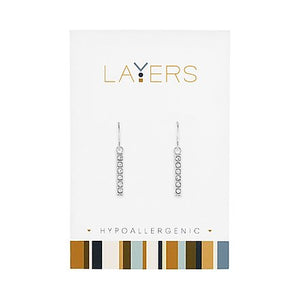 Silver CZ Bar Dangle Layers Earrings