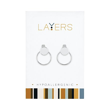 Silver Double Hoop Stud Layers Earrings